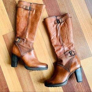 Dorking Tall Leather Suede Heeled Boots, Cognac